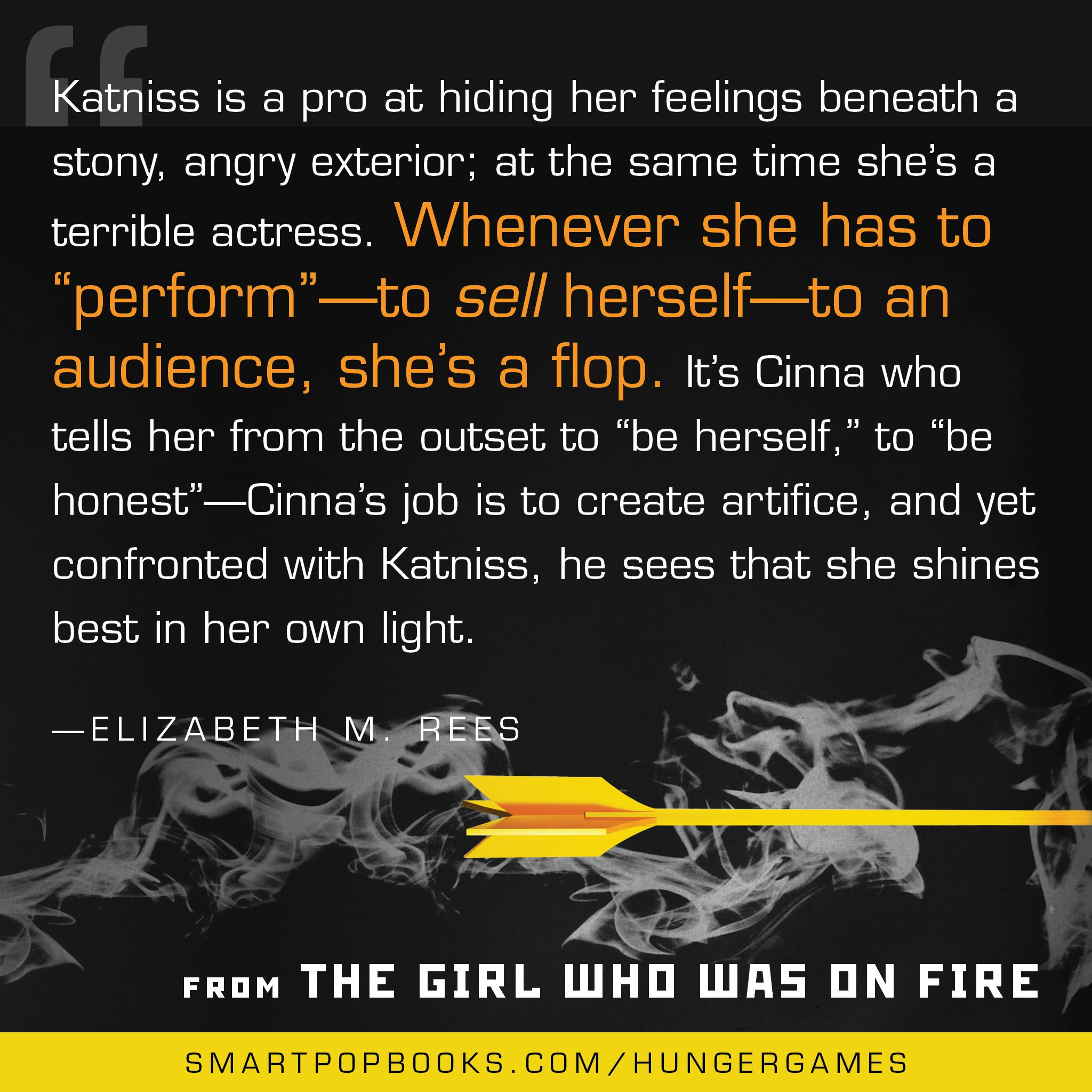 Elizabeth M. Rees on the Hunger Games trilogy from THE GIRL WHO WAS ON FIRE #HungerGames #TheHungerGames #GWWoFQuotes #TheGirlWhoWasonFire #quote #HungerGamesquote #ElizabethMRees