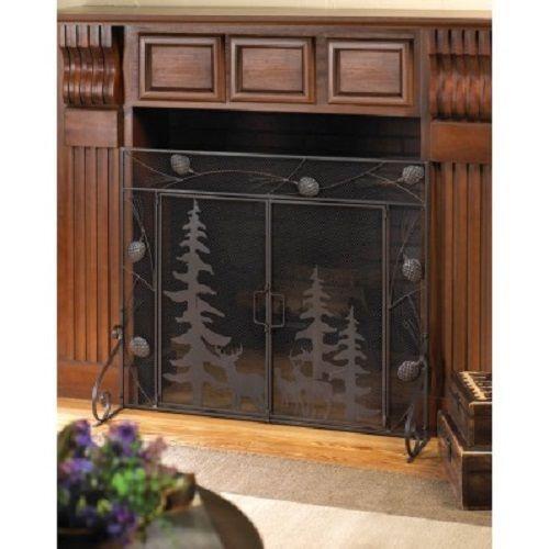 Cabin Decor Fireplace Screen Black Rustic Home Decor Fireplace Spark