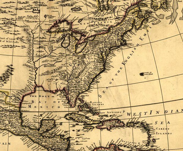 17th Century map of Eastern North America | Colonial America