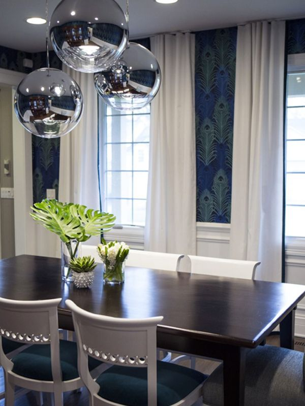 Alexandra Kaehler Design  Peacock Wallpaper Dining Room