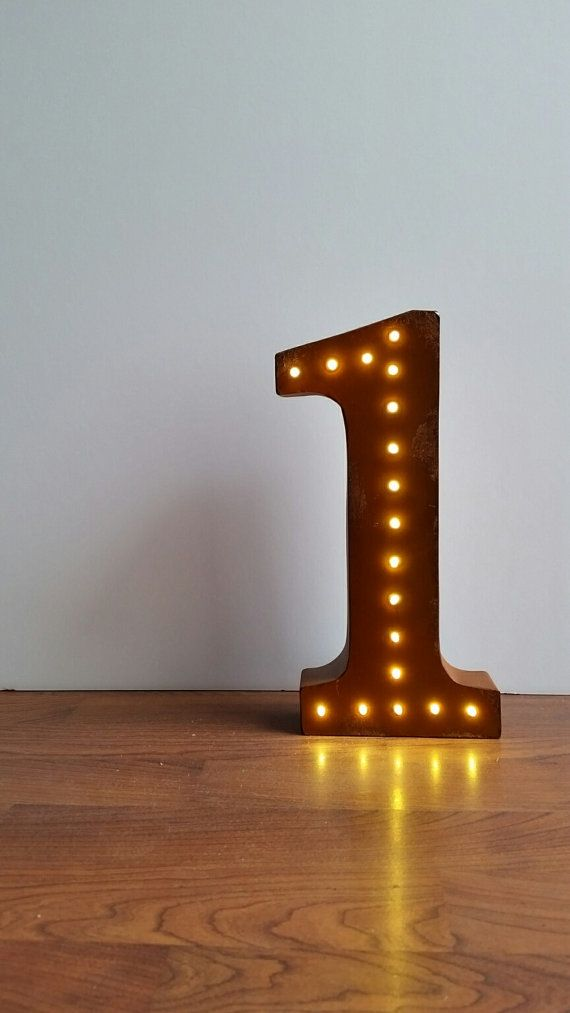 Light Up Metal Numbers Battery Operated Distressed Copper 12 Marquee Lights