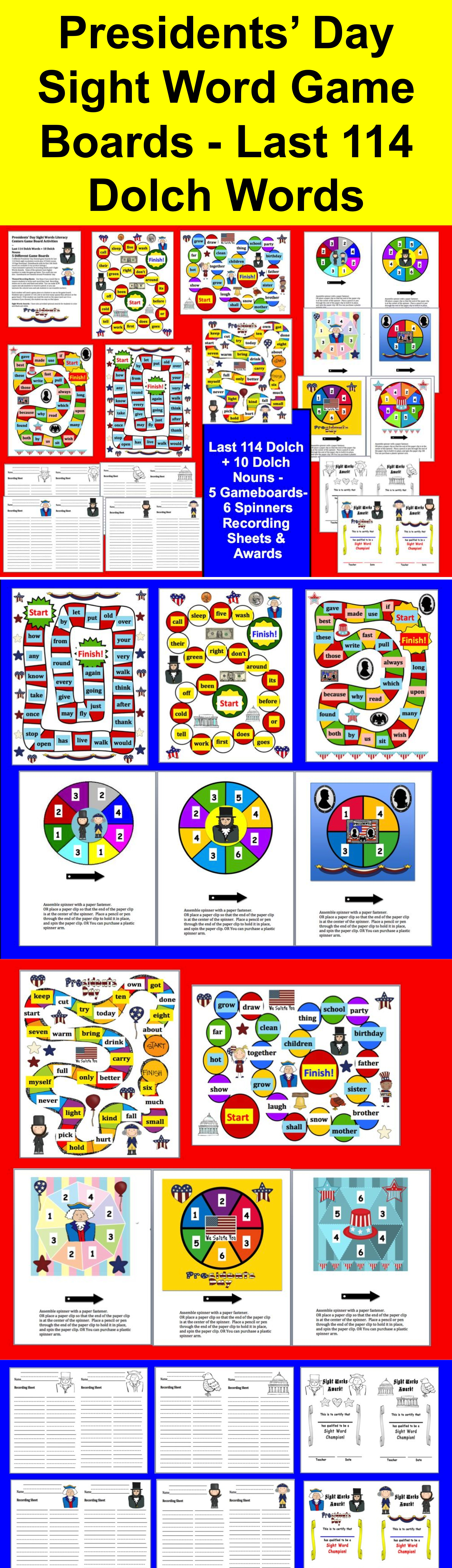 Presidents Day Activities Word Games For Last 114 Dolch