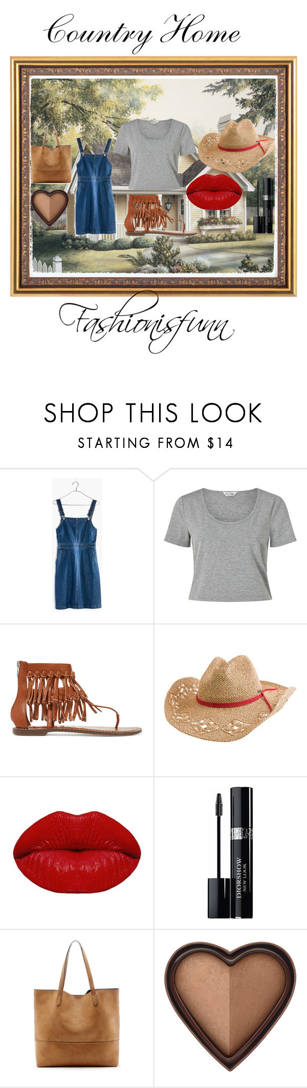 """""""Country Home Outfit"""" by fashionisfunn ❤ liked on Polyvore featuring Madewell, Miss Selfridge, Sam Edelman, Quiksilver, Winky Lux, Christian Dior, Sole Society, Too Faced Cosmetics and country"""