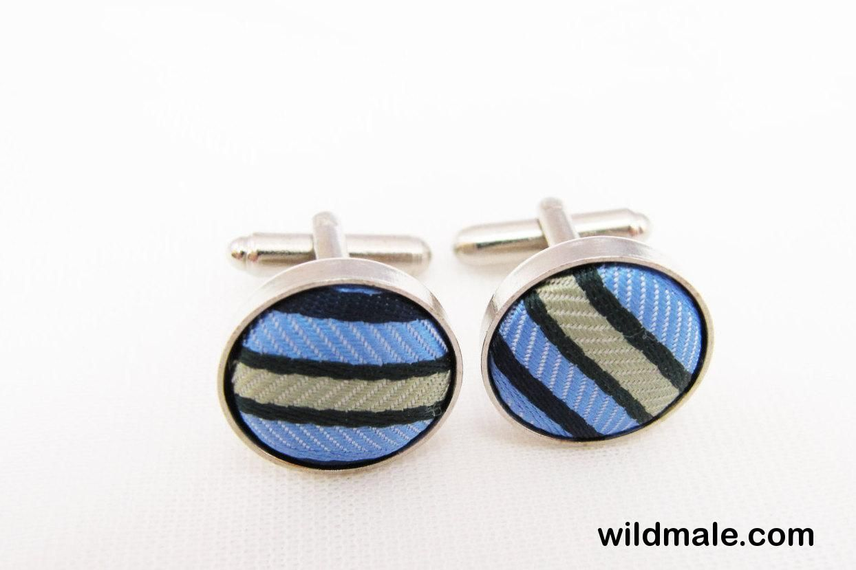 Vintage Silver Blue Green Stripes Cuff Links - http://wildmale.com/vintage-silver-blue-green-stripes-cuff-links