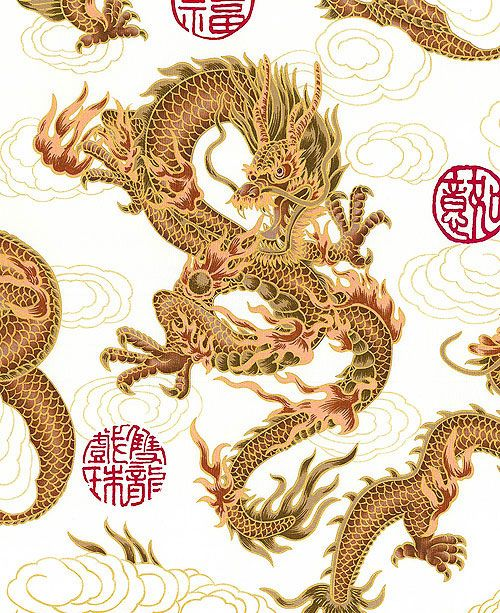 Fire-Breathing Dragons: White (BTY) Asian Quilt Fabric
