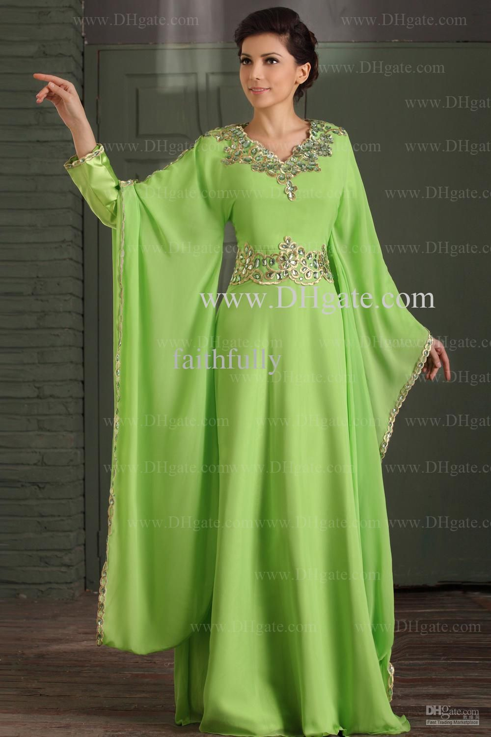Wholesale Prom Dresses Buy Arabic Dubai Abaya Kaftan Green Greek