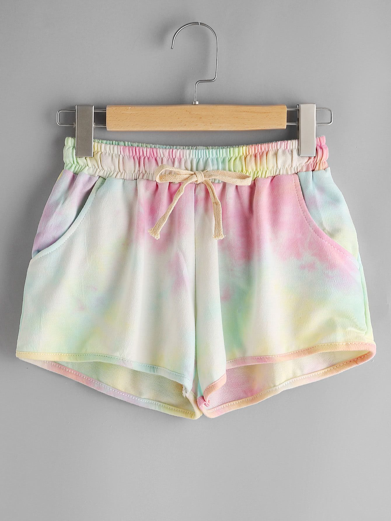 Water Color Elastic Drawstring Waist Shorts Pakaian Lucu Gaya