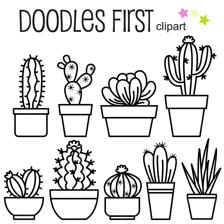 Outline Cactus Digital Clip Art For Scrapbooking Card