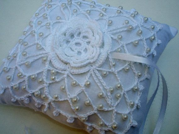 crochet wedding ring bearer pillows Wedding Beaded Lace Ring