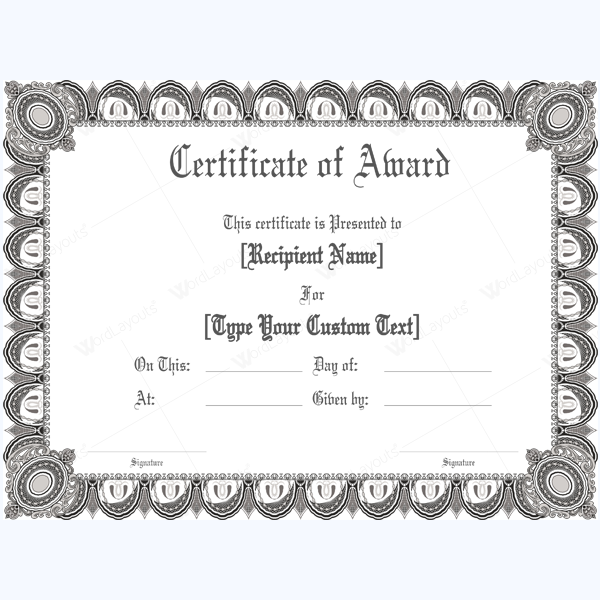 Formal Graphic Designed Award Certificate Templates For Word