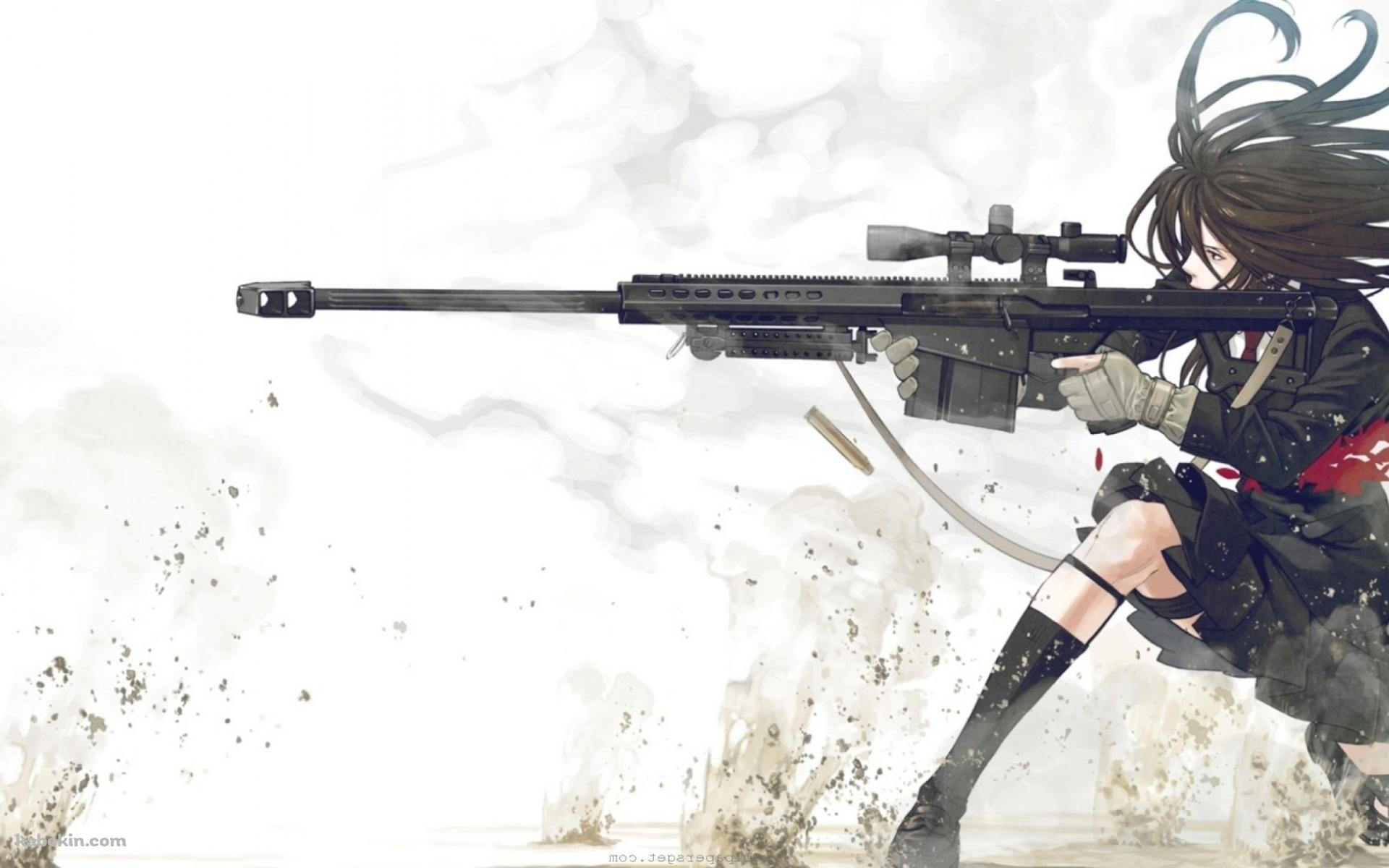 Девушка аниме со снайперской винтовкой 3