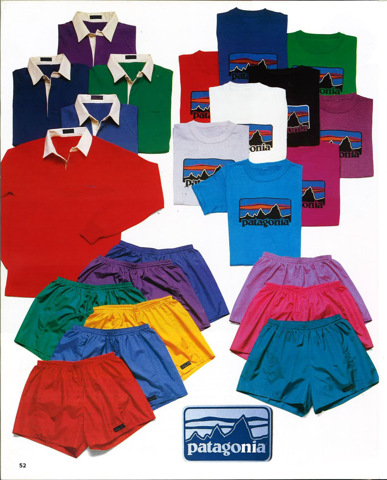 Rugby shirts, T-shirts and Baggies from the Patagonia Spring 1985 Catalog.