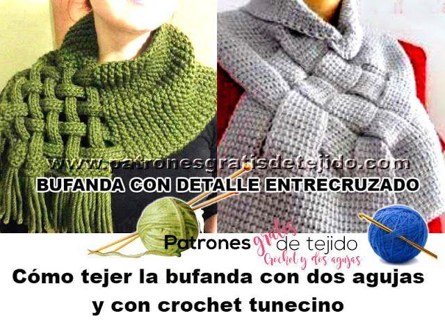 Bufanda cuello crochet tunecino y dos agujas con detalle de cesteria ...