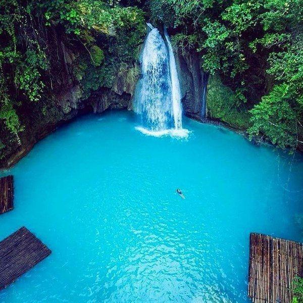 LasCataratas de Kawasanson unas cascadas en la isla deCebú, localizada en el centro deFilipinas.  #belleza #cascadas