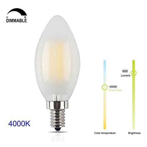 6w Dimmable Led Filament Candle Light Bulb E12 Candelabra Base 4000k Daylight Neutral White 600lm C35 Torpedo Shape B Light Bulb Candle Led Bulb Dimmable Led