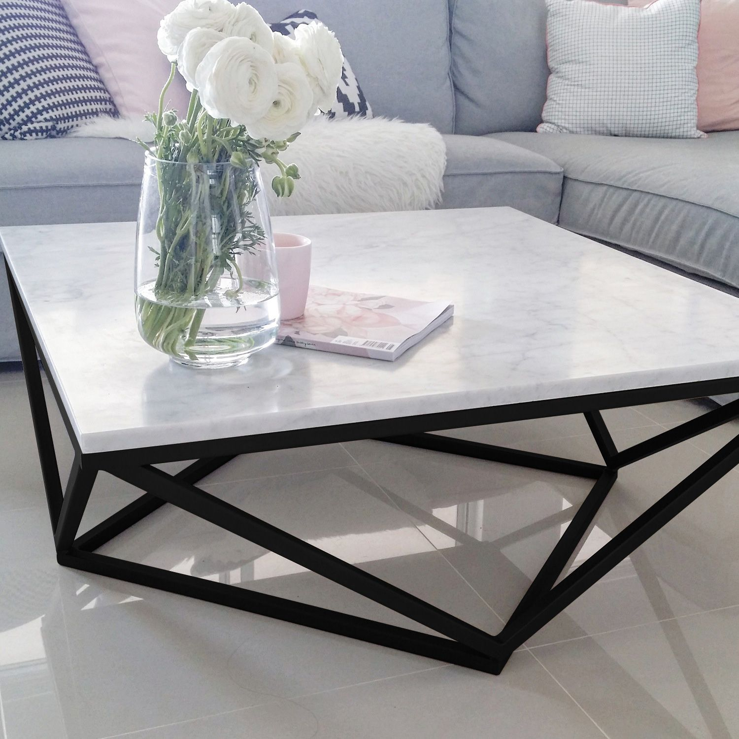 100% Italian Cararra Marble Coffee Table by Meir. Get the ...