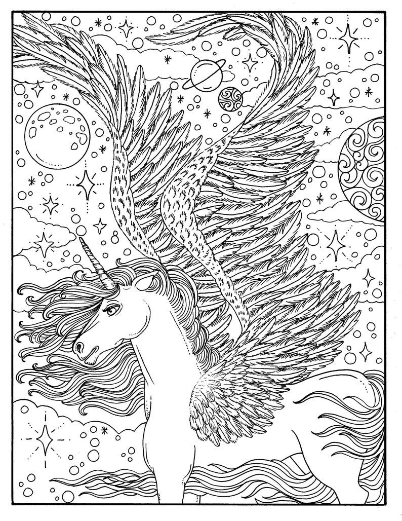 Digital Coloring Book Unicorn Dreams, Magical, Fantasy ...