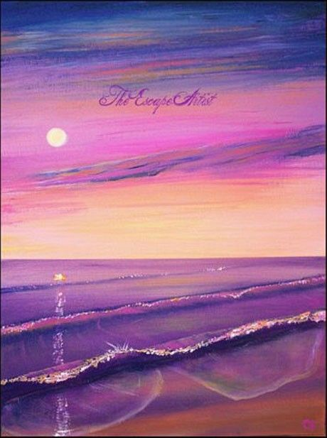 Pink And Purple Sunset Painting Moon Beach Original Colorful Acrylic 12x16