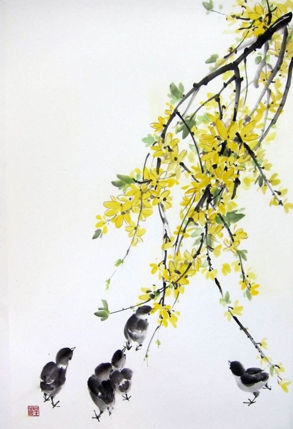 Ella Saridi Forsythia Chicks 1 Japanese Ink Painting 새 그림