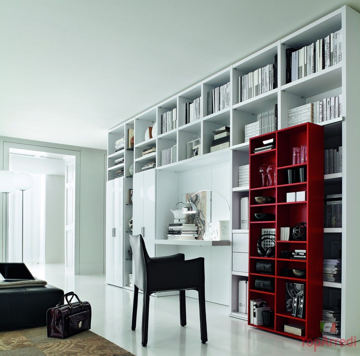 libreria a ponte con scrivania - Cerca con Google | Cool book spaces ...