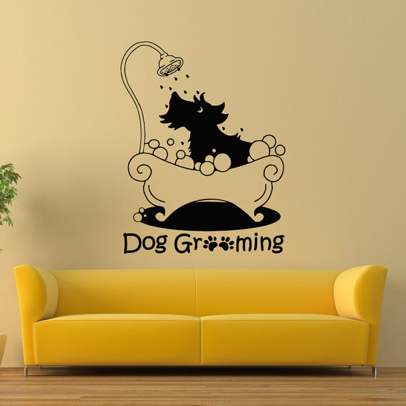 dog grooming wall decal, pet grooming salon vinyl sticker, puppy pet