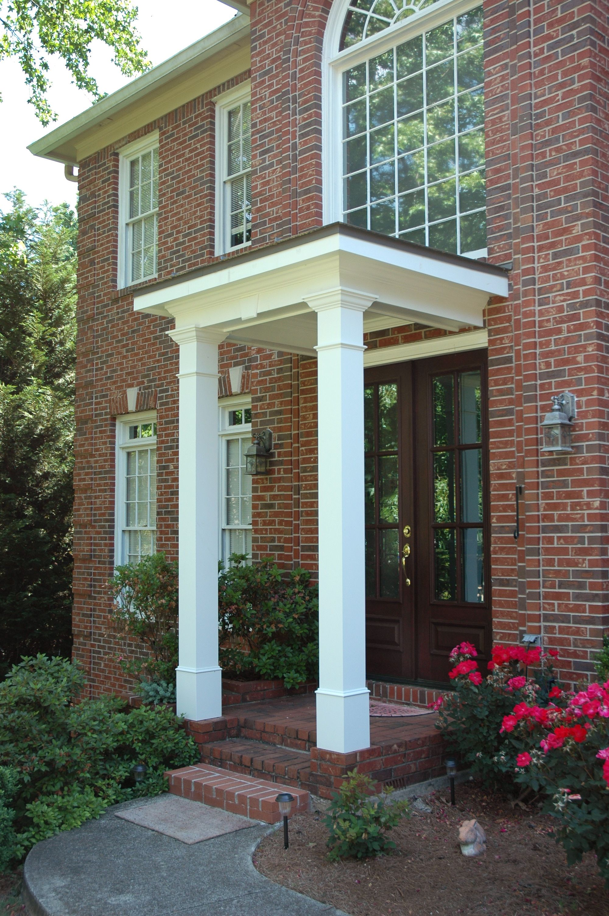 Flat roof portico designed and built by georgia front for Front door roof designs