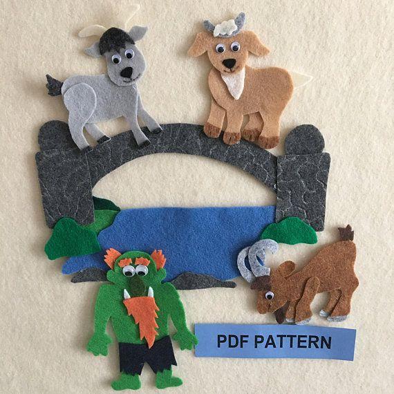 Speelgoed en spellen For Storytime School Children 5pc Billy Goats Gruff Finger Puppet Set