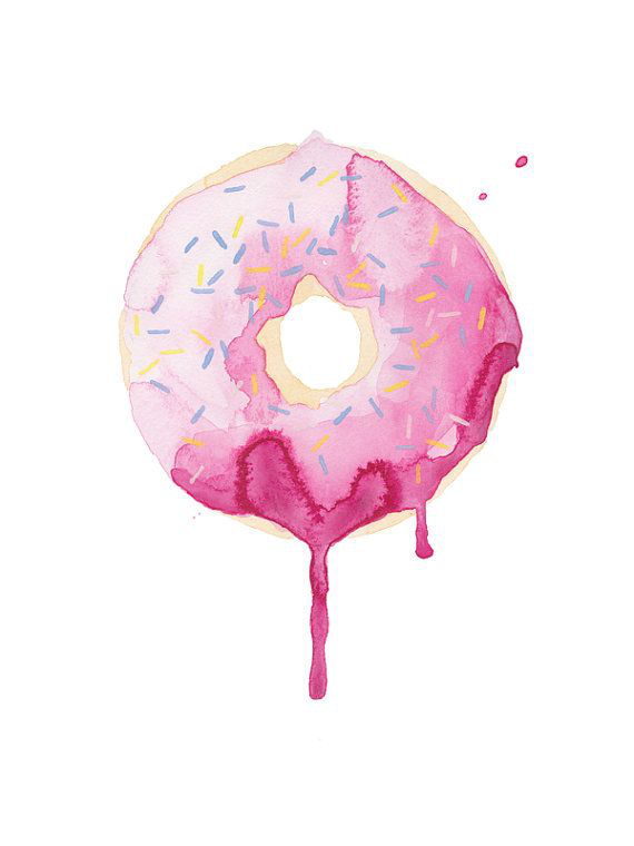 Glazed Watercolor Print Pink Donut Dripping Kitchen Wall Decor Modern Art Food