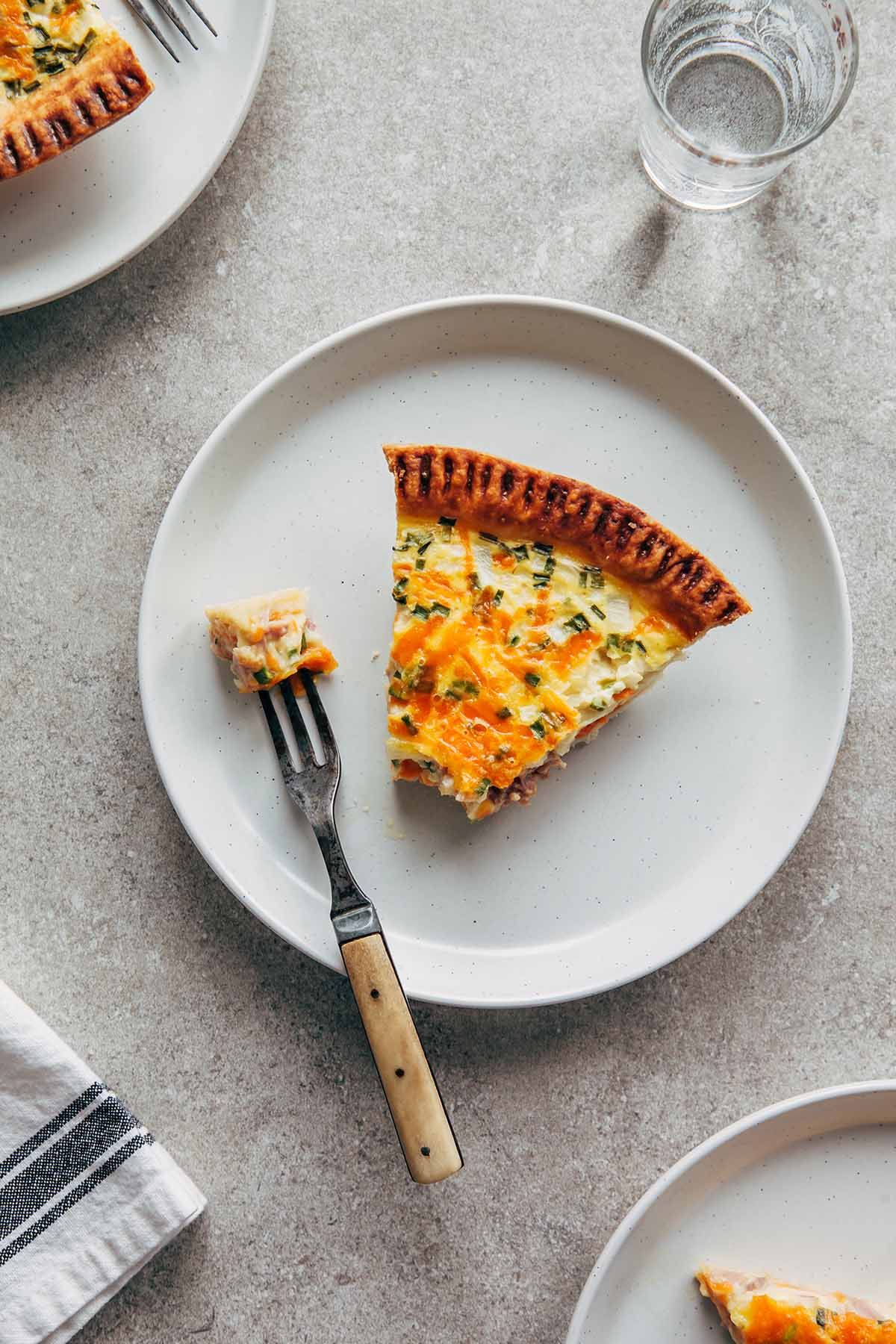 Buttermilk Quiche With Ham Cheddar And Chives Recipe In 2020 Cheddar French Eggs Quiche Recipes