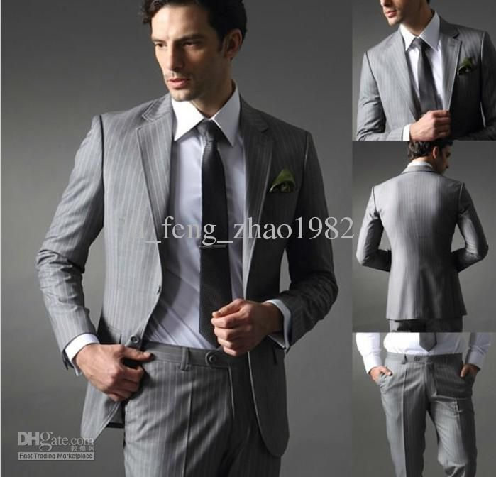 Gray Stripes Groom Tuxedos Formal Men\'s Suits Groomsman Bridegroom ...