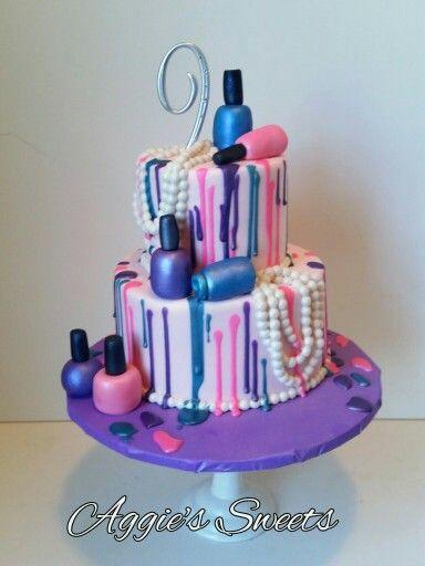 Nail Polish And Pearls Birthday Cake