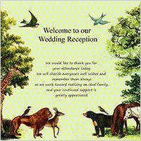 森の動物からの届いた無料ウエディングカード   ウエディングカード無料素材
