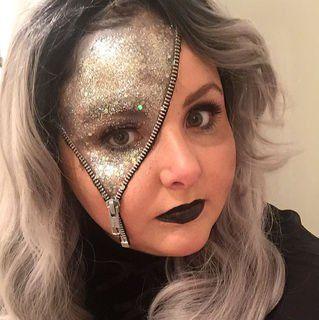 glitter zipper facejmuise  upload your halloween