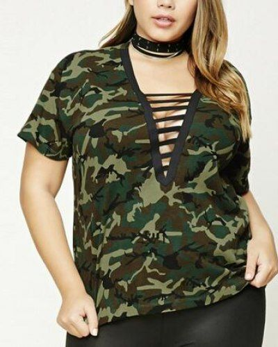 83f54a70a8a44a Green camouflage t shirt deep v neck with strappye for fat women ...