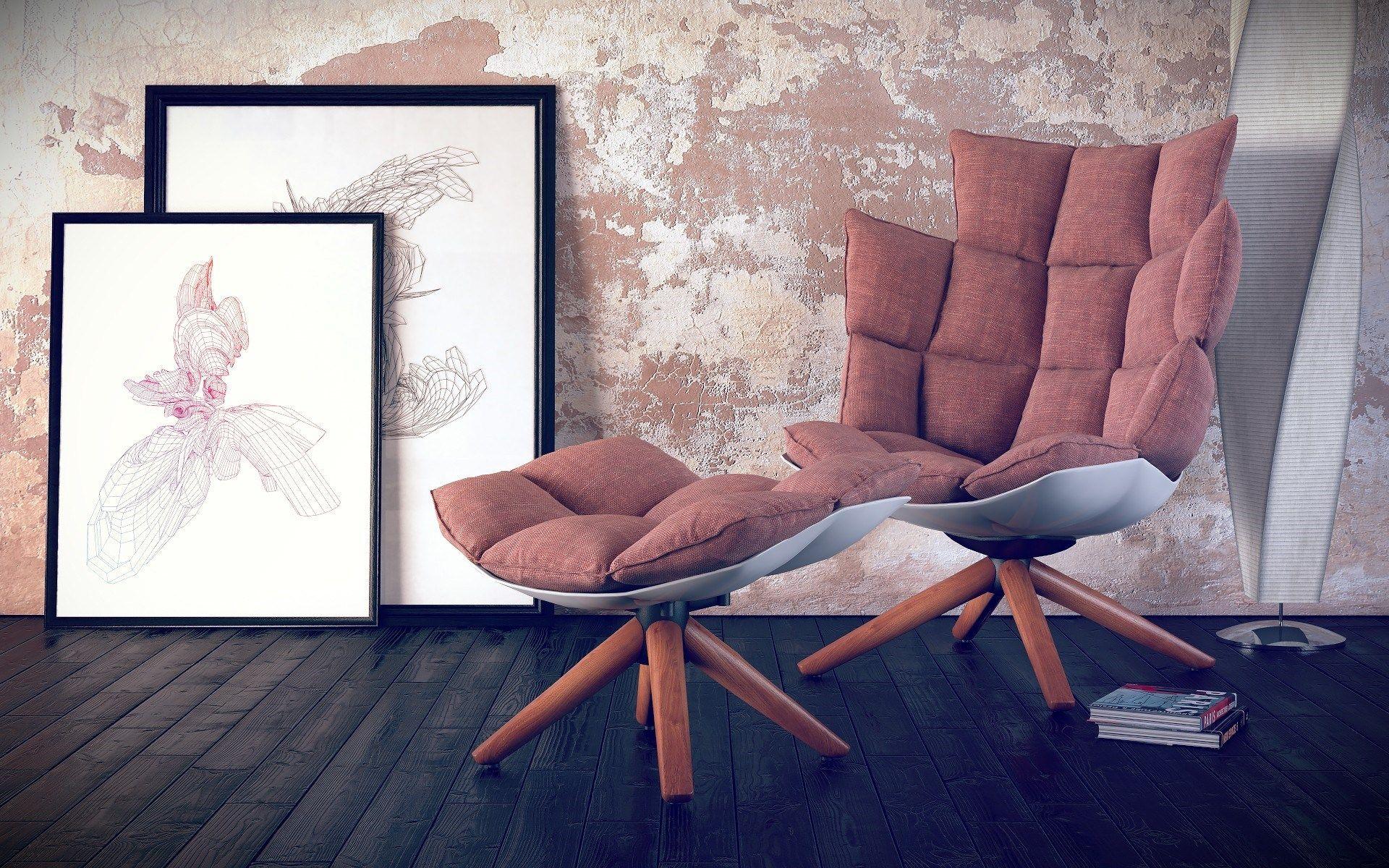 chair pillows lamp floor books paintings