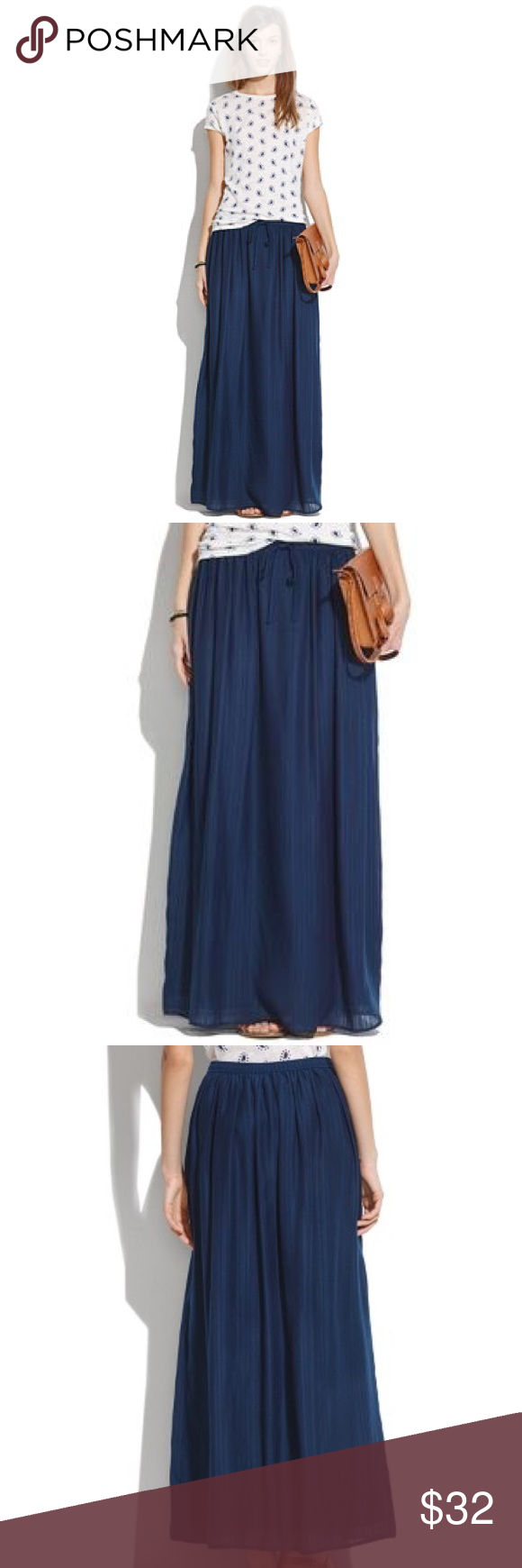 36391e554 NWOT Madewell Skyward Navy Maxi Skirt Long and floaty, this pull-on Madewell  NWOT