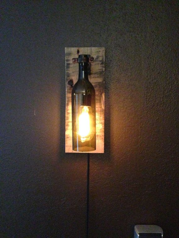 Rustic Wine Bottle Wall Light Sconce With Cord And In Line On Off Switch