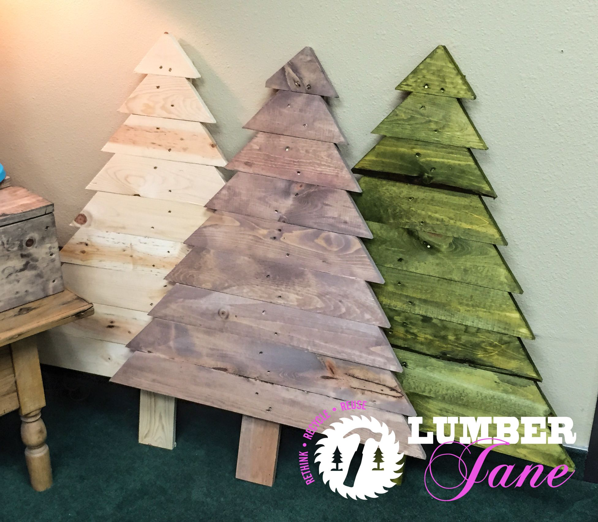 Recycled Reclaimed Pallet Wood Christmas Trees Stained or Unstained