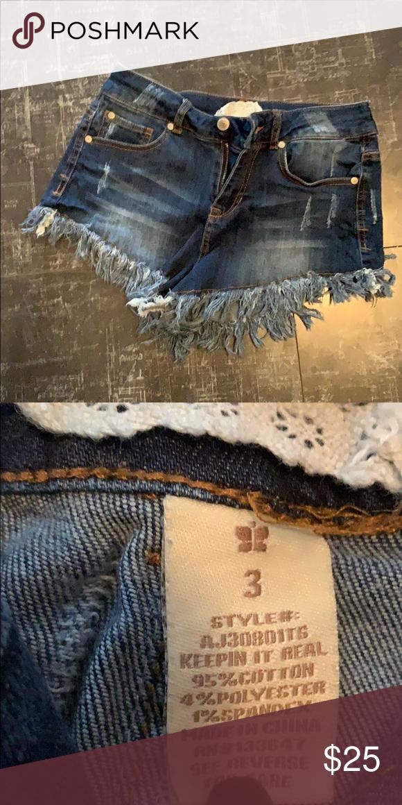 f89cfd9adec9ad Altar'd State Jean Shorts Dark wash jean shorts. Fringe at bottom of shorts
