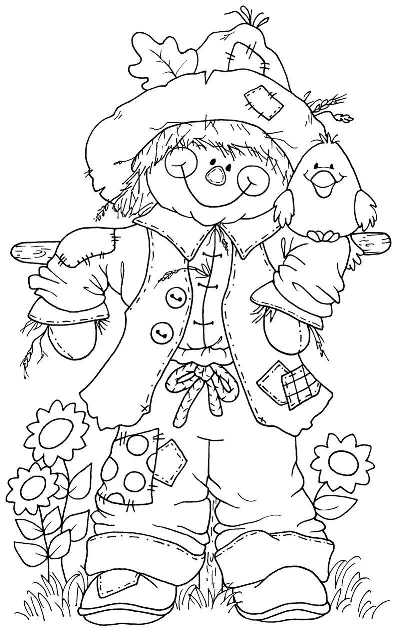 SCARECROW Fall Halloween coloring pages, Fall coloring