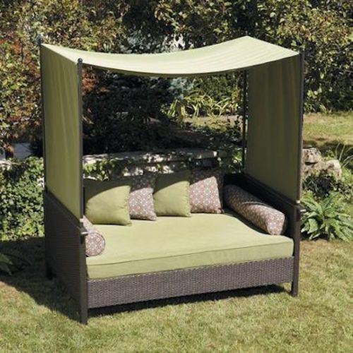 Patio Sofa Bed Wicker Canopy Gazebo Cover Couch Pool Side Clearance  Furniture #OutdoorFurnitureBed #garden
