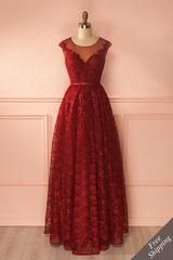 Nilla Bourgogne - Burgundy lace maxi gown