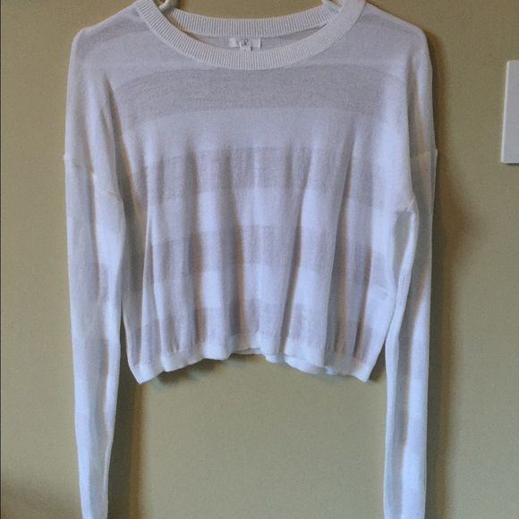 BP sheer cropped sweater White slightly sheer cropped sweater. Perfect condition worn once or twice. Bolder stripes are more opaque. Perfect spring and summer layering piece. bp Sweaters Crew & Scoop Necks