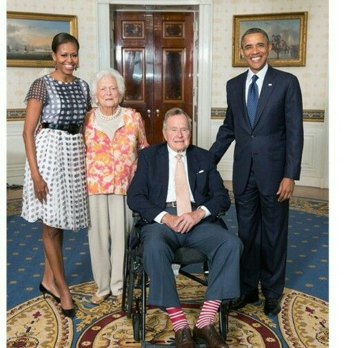 President Barack and Michelle Obama with Former President George and Barbara Bush