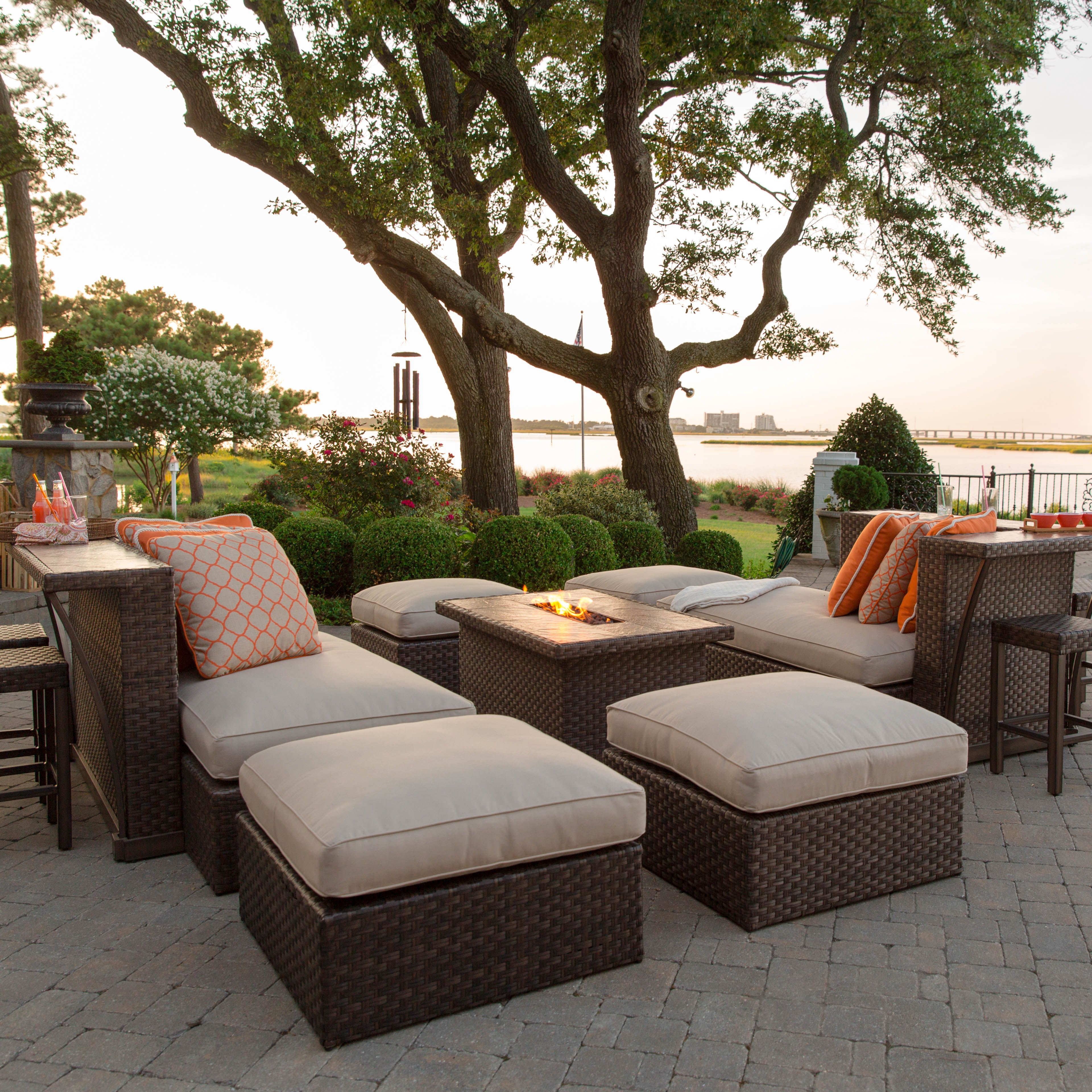 Gorgeous entertaining center with fire pit from Agio This