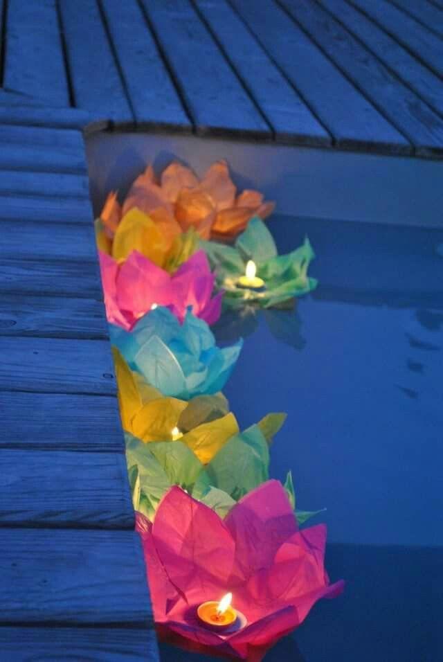 Velas para decorar a piscina pinteres for Velas para piscinas