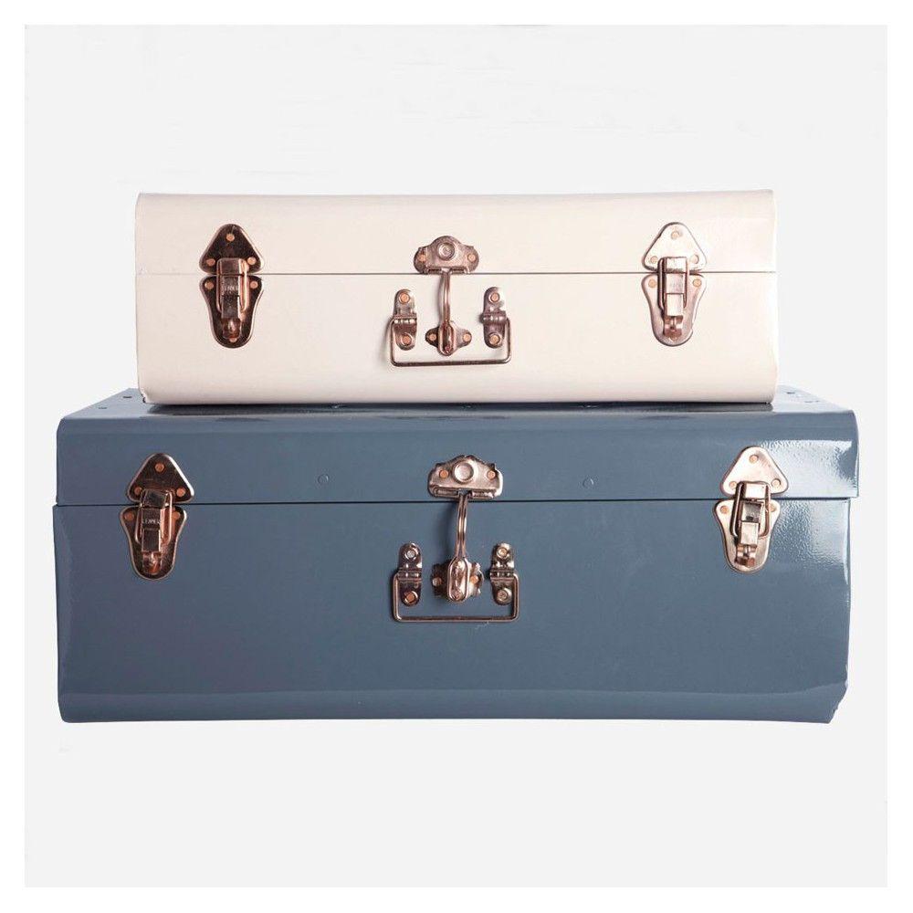 Set de 2 Valises en métal rose clair et bleu marine House Doctor - Blanche et Léontine