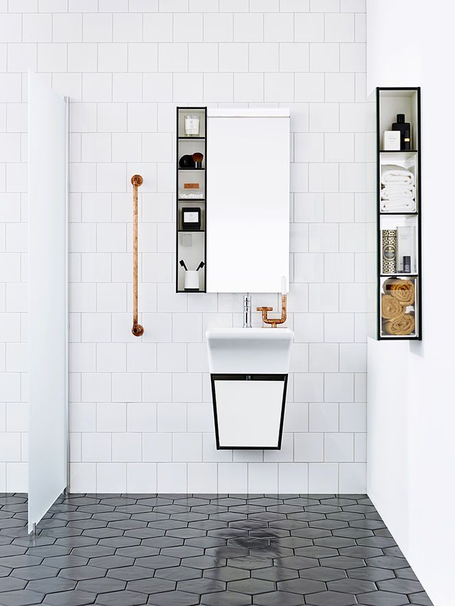 Inspirational Oh these two tiles to her Wow Just yummy I like the hexagon tile would be interesting to pop a few of the gray ones & slip in a few white Fresh - Simple black and white hexagon tile bathroom Idea
