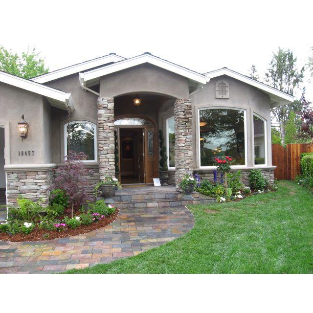 Stone Exterior Homes: Gray, White And Stone