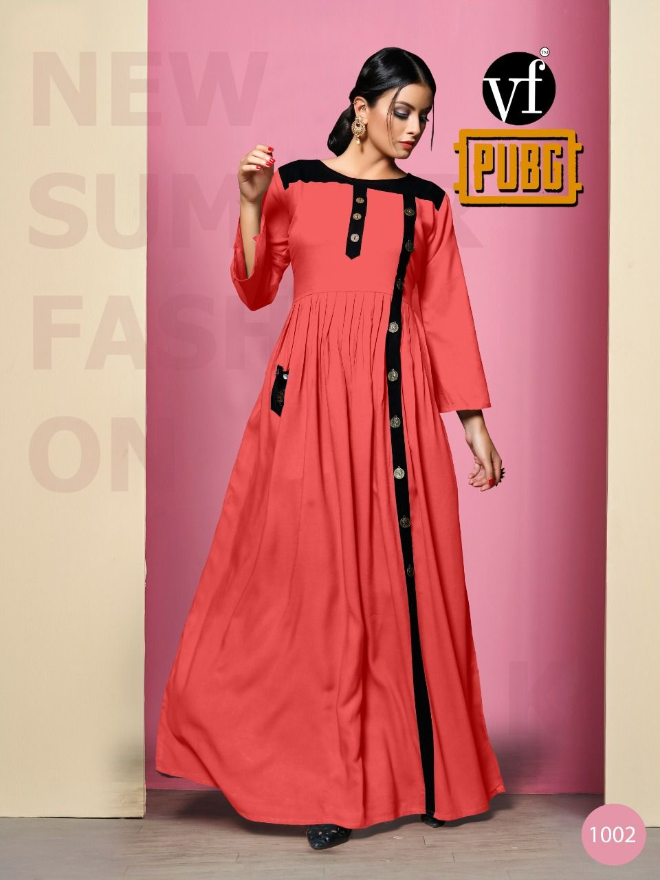 f4121ab228 VF PUBG BY VF DESIGNER COLORFUL OCCASIONAL STYLISH RAYON PLAIN WITH FANCY  PATTERN LONG KURTIS AT WHOLESALE PRICE